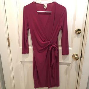 Anne Klein Faux-Wrap Purple Dress
